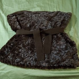 Faux shimmer fur shawl with belt